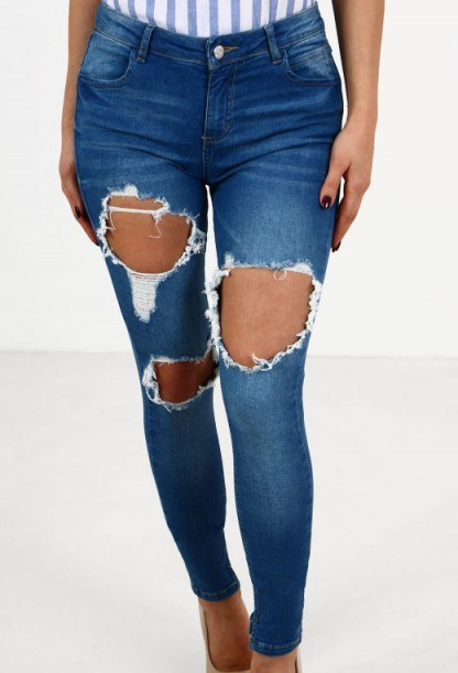 Pink Boutique Front Row Indigo Distressed Skinny Jeans - flipped