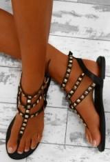 Pink Boutique Genesis Black Studded Multi Strap Sandals. Black strappy stud flats | flat summer shoes