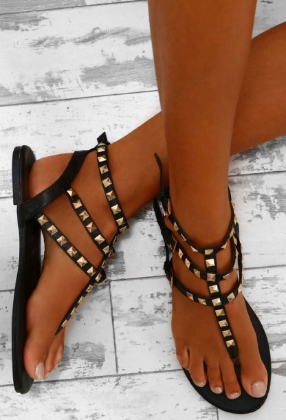 Pink Boutique Genesis Black Studded Multi Strap Sandals. Black strappy stud flats | flat summer shoes - flipped