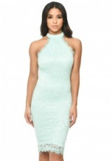 AX PARIS GREEN LACE HIGH NECK BODYCON