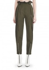 ALEXANDER WANG HIGH WAISTED ARMY PANTS WITH BALLCHAIN   dark green paperbag trousers