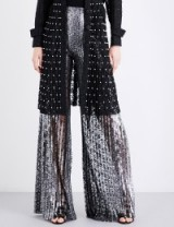 HUISHAN ZHANG Mariella flared pleated floral-lace trousers   luxe silver wide leg statement pants