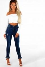 Pink Boutique Isla Navy Distressed Fray Hem Skinny Jeans