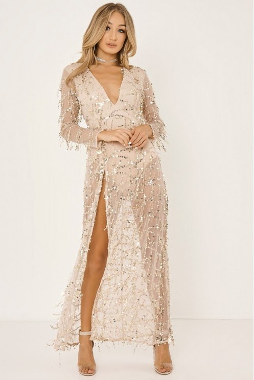 In The Style JEZZICA GOLD TASSEL SEQUIN PLUNGE FRONT MAXI DRESS - flipped