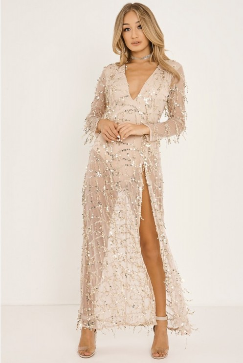 In The Style JEZZICA GOLD TASSEL SEQUIN PLUNGE FRONT MAXI DRESS