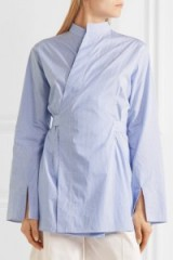 Oriental style shirts | JOSEPH Andy striped cotton-poplin wrap shirt