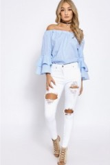 In The Style KATELYN WHITE OPEN RIP KNEE SKINNY JEANS