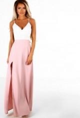 Pink Boutique Lasting Lust Pink Crochet Side Split Maxi Dress | long plunge front dresses