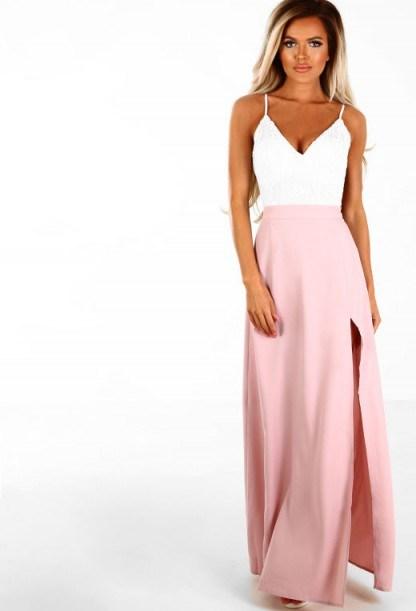 Pink Boutique Lasting Lust Pink Crochet Side Split Maxi Dress | long plunge front dresses - flipped