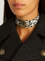 SAINT LAURENT Leopard-print silk-satin choker