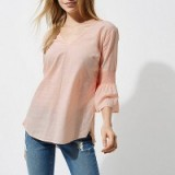 River Island Light pink shirred bell sleeve top