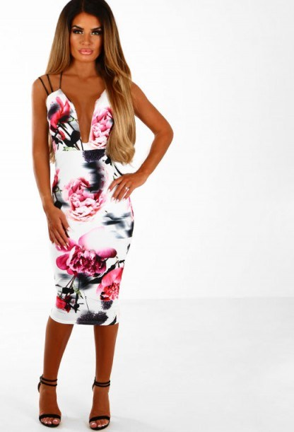 Pink Boutique Not Your Girl White Multi Floral Bodycon Midi Dress - flipped