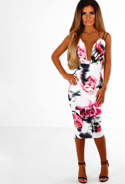 Pink Boutique Not Your Girl White Multi Floral Bodycon Midi Dress