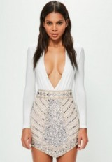 peace + love nude triangle studded embellished mini skirt ~ luxe style beaded skirts