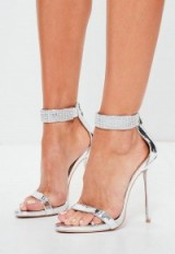 peace + love silver diamante ankle cuff barley there heels