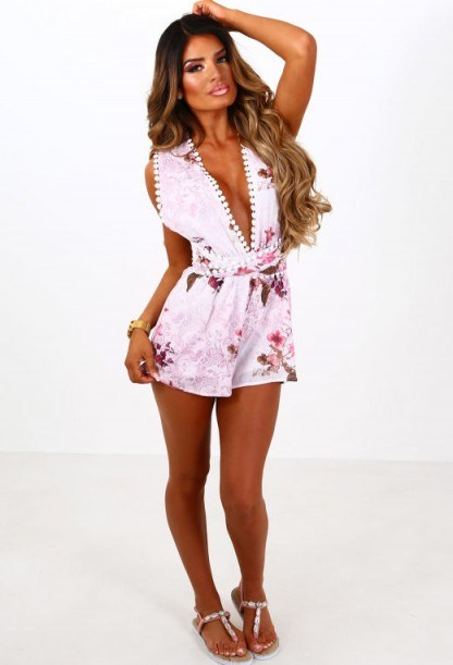 Pink Boutique Peony Daze Pink Floral Multi Tie Playsuit | plunging playsuits - flipped