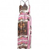 River Island Pink chain print maxi slip dress ~ holiday/vacation dresses