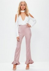missguided pink satin back crepe pointed frill hem trousers