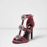 River Island Pink velvet diamante caged sandals ~ luxe style high heels
