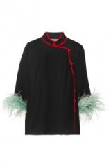 Oriental style blouses | PRADA Feather-trimmed silk-chiffon blouse