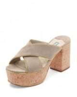 Vanessa Hudgens neutral Suede Platform Cork-Heel Mule Sandals by Prada, leaving Granville Cafe in Studio City, Los Angeles, 17 June 2017. Celebrity chunky mules | star style summer shoes