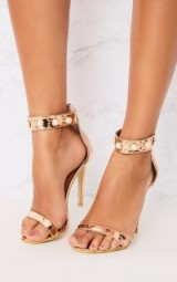 Pretty Little Thing ROSE GOLD PEARL STRAP HEELS