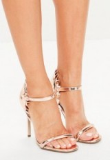 Missguided rose gold ruffle back strappy sandals