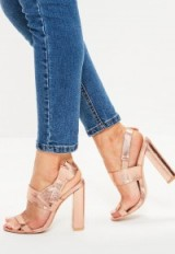 Missguided rose gold side bow block heeled sandals
