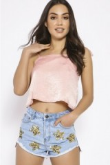 In The Style RUPINDER LIGHT WASH SEQUIN STAR PATCH DENIM SHORTS
