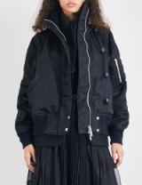 SACAI Ruched oversized bomber jacket | casual black jackets