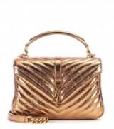 SAINT LAURENT Collège Monogram gold leather shoulder bag