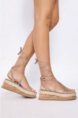 Binky Felstead MOCHA FAUX SUEDE TIE LEG PLATFORM ESPADRILLES by In The Style, on Instagram, April 2017. Celebrity sandals | star style summer shoes