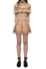 $229.00 Self Portrait Curved Hem Crepe Shorts In Nude