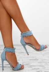 Pink Boutique Strut It Blue Denim Barely There Heels