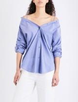 THEORY Tamalee cotton shirt | indigo blue bardot shirts