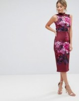 True Violet High Neck Pencil Dress with Mandarin Collar and Cap Sleeve