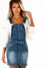 Pink Boutique Werk It Mid Blue Denim Dungaree Dress