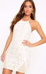 Pretty Little Thing WHITE LACE FISHNET PANEL HALTERNECK BODYCON DRESS