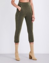 YEEZY Skinny cropped stretch-towelling jogging bottoms army-green