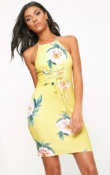 Pretty Little Thing YELLOW FLORAL LACE UP DETAIL BODYCON DRESS, fitted going out dresses, evening fashion