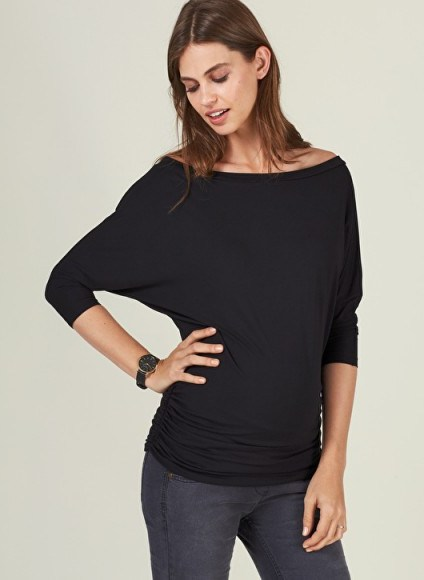 Isabella Oliver ABIGAIL MATERNITY TOP ~ ruched pregnancy tops ~ off the shoulder - flipped