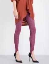 A.F.VANDEVORST Skinny high-rise metallic lurex leggings   pink disco pants