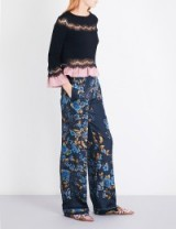 ALBERTA FERRETTI Floral-print relaxed-fit silk-satin trousers   navy-blue silky pants