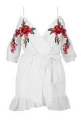 boohoo Alisha Open Shoulder Embroidered Playsuit