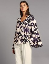 AUTOGRAPH Animal Print V-Neck Long Sleeve Blouse / M&S blouses / Marks and Spencer tops
