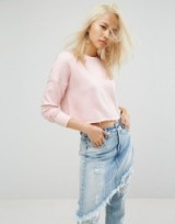 Arrive Cropped Raw Edge Sweat with Rip Detailing ~ pink sweatshirts