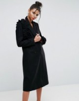ASOS Coat with Statement Frills ~ black ruffle coats