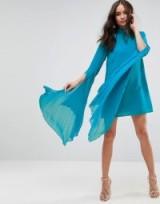 ASOS Dramatic Pleated Sleeve Mini Shift Dress ~ sheer sleeved turquoise dresses