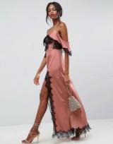 ASOS Lace Panelled Cold Shoulder Maxi Dress
