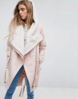 ASOS Waterfall Parka with Borg Lining ~ light pink parkas